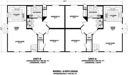 Floor Plan U Dpx 2866a Duplex Series Durango Homes