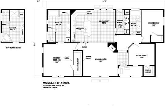 Floor plan stf 1600a santa fe durango homes built by for Santa fe floor plans