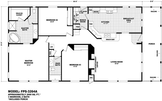 Floor Plan Fps 2458a Front Porch Series Durango Homes Built By Cavco Manufactured Home Floor Plans Available In Arizona California Colorado Nevada New Mexico And Utah