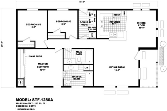 Floor plan stf 2042a santa fe durango homes built by for Santa fe floor plans