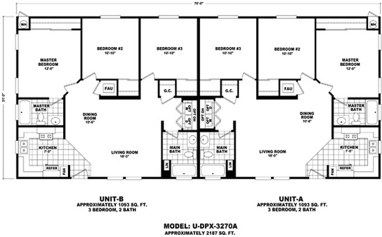 6 bedroom modular homes. U DPX 3270A line drawing Floor Plan  Duplex Series Durango Homes Built by
