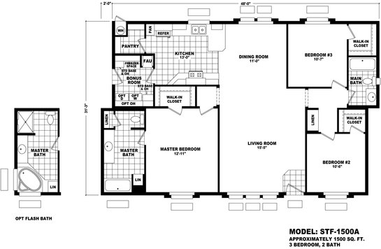 Floor Plan Stf 1500a Santa Fe Durango Homes Built By Cavco Manufactured Home Floor Plans Available In Arizona California Colorado Nevada New Mexico And Utah
