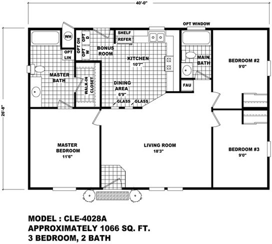 Floor plan cle 4028a cle multi section durango homes for Modular granny flat california